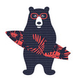 bear surfer 003 vector image