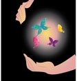 Being shone sphere with butterflies in hands vector image