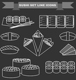 Big black and white icon set of sushi vector image