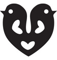 bird icon image heart shape vector image vector image