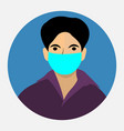 boy wearing protective medical mask for prevent co vector image vector image