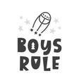 boys rule scandinavian childish poster vector image vector image