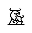 bull ox chinese new year line monoline logo icon vector image vector image