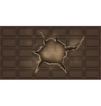 chocolate bar with a hole chocolate background vector image