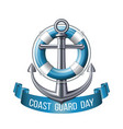 coast guard day greeting card nautical emblem vector image vector image