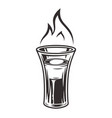 cocktail shot b 52 with fire flame emblem vector image vector image
