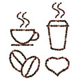 coffee set with 3d beans pattern vector image