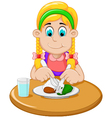 cute little girl cartoon has breakfast vector image