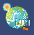 earth day planet with sun and sunshine poster vector image vector image