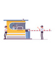 female security guard at toll booth vector image vector image