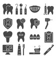 flat icons dental care and dentist services vector image vector image