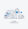 flat line business planning vector image vector image