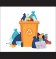 full garbage bin overflowing recycling container vector image vector image