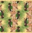 giraffe stork head seamless pattern yellow vector image vector image
