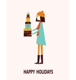 Girl with gift boxes vector image