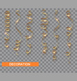 golden glitter serpentine set isolated with vector image