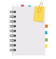half an open notepad with clean sheets and vector image vector image