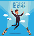 happy manager businessman jumping on the vector image