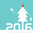 Happy New Year Design with smiling Christmas tree vector image vector image