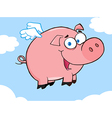 Happy pig flying in a sky vector | Price: 1 Credit (USD $1)