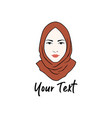hijab logo young lovely muslim girl flat design vector image