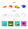 isolated object of headgear and cap logo vector image vector image