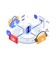 isometric 3d app icons music video wireless vector image