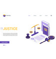 isometric justice and law firm cartoon 3d concept vector image
