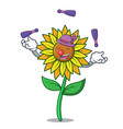 juggling sunflower mascot cartoon style vector image vector image