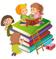 kids on the books vector image