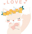 lovely fox girl and heart vector image vector image