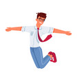 man guy jumping with happy smile with hands up vector image