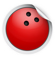 round sticker with bowling ball vector image vector image