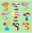 set cute animals and kids for happy birthday vector image