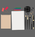 set flat stationery top view pen pencils ink vector image vector image