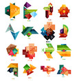 set of color paper style business infographic vector image vector image