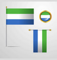 sierra leone waving flag design with badge vector image vector image