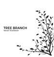 silhouette tree branch with a lot leaves bush vector image vector image