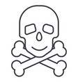 skull with bones line icon sign vector image vector image