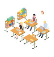 students working in the library isometric vector image vector image