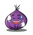 sweat smile red onion character cartoon vector image vector image