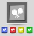 Tennis rocket icon sign on original five colored vector image vector image