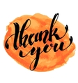 Thank You Hand drawn lettering with watercolor vector image