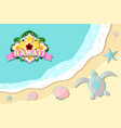 top view seashore with sea waves turtle shells vector image vector image