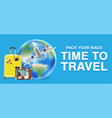 travel around world with airplane and bag vector image vector image