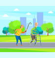 urban walk in city grandmother and grandfather vector image vector image
