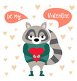 valentines day card with raccoon vector image
