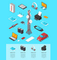 wireless technologies isometric 3d infographics vector image vector image