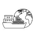 world planet earth with cargo ship vector image