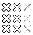x cross delete remove icon shape outline vector image vector image